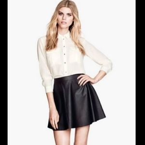 H&M NWT faux leather flare skirt